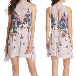 Free People Womans Marsha Printed Lace Neck Dress